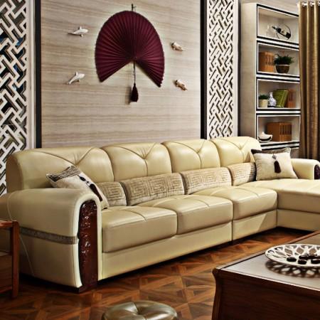 林氏木业真皮沙发组3.4米(左)